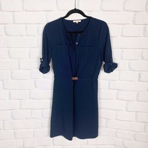 Stitchfix I Skies Are Blue Navy Blue Belted Dress
